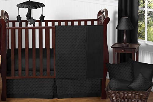 Sweet Jojo Designs 11-Piece Solid Black Minky Dot Neutral Baby Girl Boy Unisex Bedding Crib Set Without - Minky Crib Bedding Dot