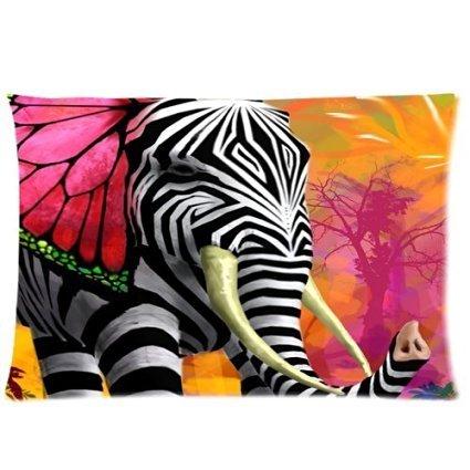 Hey-Boss Aztec Elephant on the Colorful Chevron Custom standard Zippered pillowcase size 20