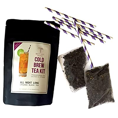 BIG T NYC All Night Long Cold Brew Tea Kit Includes: 2 Sachets of Premium Organic Black Tea Loose Leaf And Straws