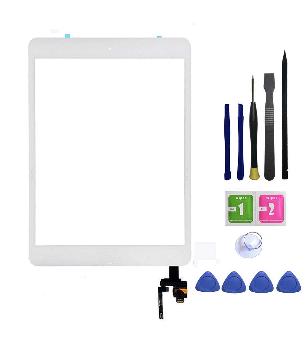 FeiyueTech iPad Mini 3 Touch Screen Replacement (Original White), Front Glass/Digitizer Touch Panel IC Chip Connector, Home Button,PreInstalled Adhesive Repair Tool Kit (White)