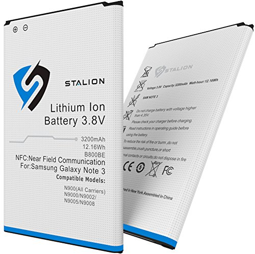 Extra Capacity Battery Door - Note 3 Battery : Stalion Strength Replacement 3200mAh Li-Ion Battery for Samsung Galaxy Note 3 [24-Month Warranty] with NFC Chip + Google Wallet Capable