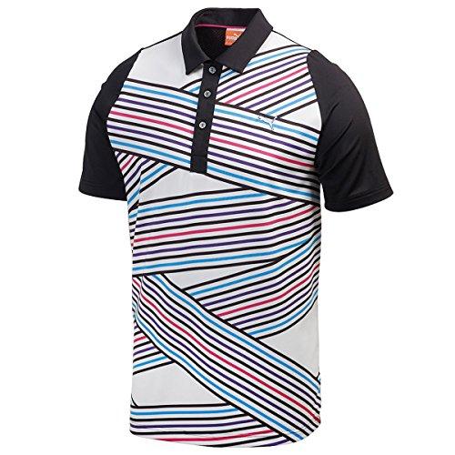 Puma Golf Men's Duo Swing Tech Graphic Polo Shirt - L - Black/White