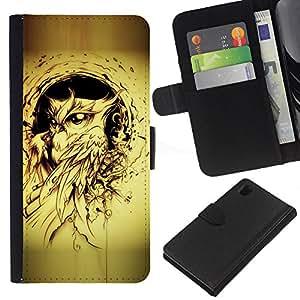 Planetar® Modelo colorido cuero carpeta tirón caso cubierta piel Holster Funda protección Sony Xperia Z1 L39 ( Owl Bird Yellow Tattoo Black Ink Painting )