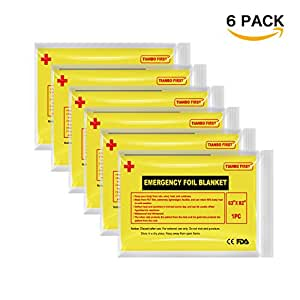 "TIANBO FIRST Emergency Blanket - (6-Pack), 63"" x 82"". Two-Sided Extra Large Mylar Survival Blanket for Marathons, Camping, Outdoors, First Aid Kits, Survival Kit, Car Emergency Kit"