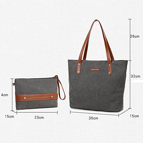 Girls Simple For Students Grey Shopper Style Totes Handbag Bag Bag Hobo Y Women Canvas Shoulder Girl ELEOPTION Brown Women's Vintage M 67Z55w