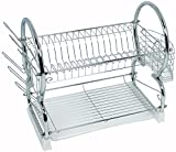 Buckingham 56 cm Steel Deluxe 2-Tier Chrome Plated Dish Drainer Cup Glasses Crockery Cutlery Utensil Drainer with Drip Removable Tray, Silver
