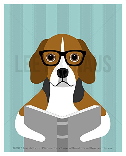 155D - Beagle Dog Wearing Black Eyeglasses Reading a Book UNFRAMED Wall Art Print by Lee - Collection Eyeglasses Colours