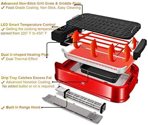 KOUQI 1500W Électrique sans Fumée Grill avec Couvercle en Verre, Gril Et Plaque 2 Plaques Crêpière Amovible, Portable BBQ & Grillade Fournaise, Lave-Vaisselle
