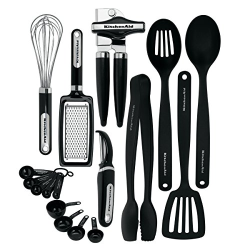 Safe Kitchenaid Dishwasher Spoon (KitchenAid KC448BXOBA 17-Piece Tools and Gadget Set, Black)
