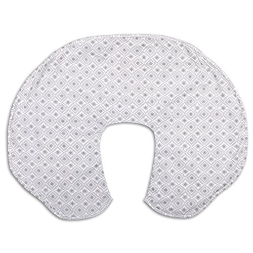 Cover for The Peanut Shell Extra-Large Nursing Pillow - Celeste Grey Geometric ()