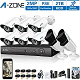 A-ZONE 8CH 1080P DVR AHD Sistema de cámara de seguridad para el hogar W / 6x HD 1080P Cámara de visión nocturna a prueba de agua 2.0MP y 2x HD 1080P Cámara varifocal- Incluyendo 2TB HDD, Sistema de seguridad de 8 cámaras