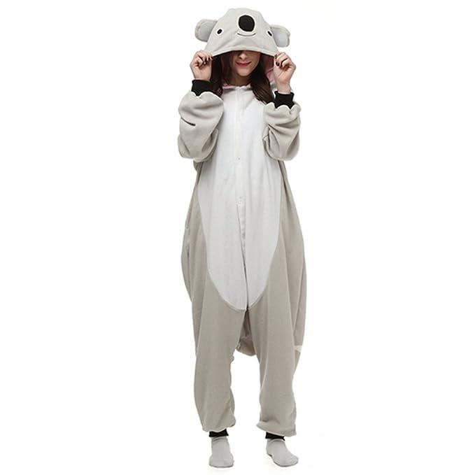 dressfan Unisex Adulto Animal Pijamas Gris Koala Cosplay Traje Animal Pijamas Animal Traje Gris Koala Pijamas Gris Koala Traje Adulto Niño