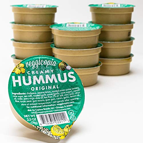 Veggicopia Creamy Original Hummus - classic flavor with a hint of garlic and lemon - All natural, gluten free, dairy-free, vegan - No refrigeration required - 2.5 oz dip cups (Pack of 12) (Roasted Red Pepper Hummus Recipe Without Tahini)