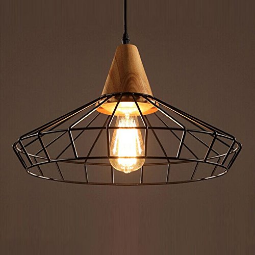 OAKLIGHTING Modern Nodic Metal Cage Wood Ceiling Pendant Light Black Color 94X157 1 Free Retro Bulb