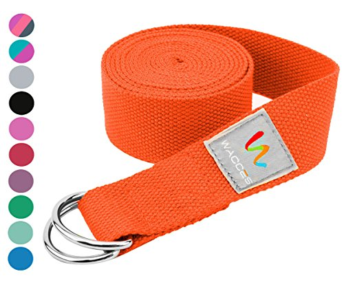Wacces D-Ring Buckle Cotton Yoga Straps Bands - Best for Stretching (Orange, 10 ft)