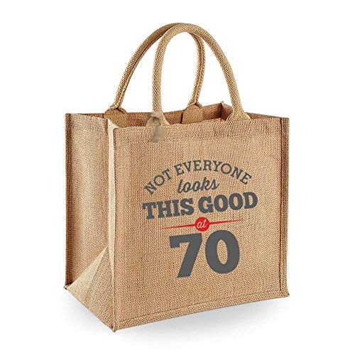 70th Birthday Keepsake Gift Bag Present for Women Novelty Jute Shopping Tote Birthday Gift Bag Ideas