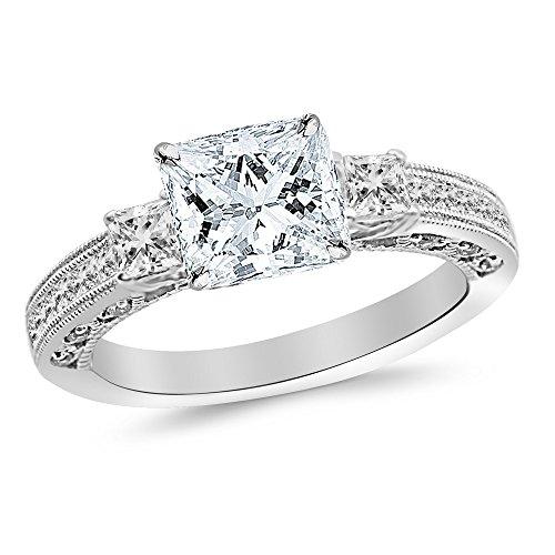 1.25 Ct Past Present - 1.25 Carat Platinum Past Present Future 3 Stone Princess Cut Channel Set GIA Certified Princess Cut Diamond Engagement Ring (0.75 Ct J Color SI2 Clarity Center Stone)