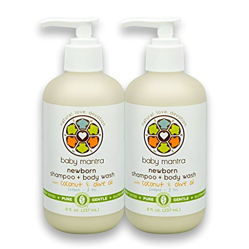 Baby Mantra 2-in-1 Shampoo and Body Wash - EWG Verified Bath Soap for Infants, Toddlers, and Kids with Sensitive Skin, 8 Ounce Pump Bottle (Pack of 2)