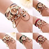 Rhinestone Bracelet Watch COOKI Clearance on Sale Women Analog Leather Lady Watches Female watches-H68