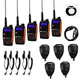5 Pack Baofeng Pofung GT-3TP Mark-III Tri-Power 8/4/1W Two-Way Radio Transceiver, Dual Band 136-174/400-520 MHz 8W, with High Gain Antenna, Upgraded Chip + 5 Remote Speakers + 1 Programming Cable