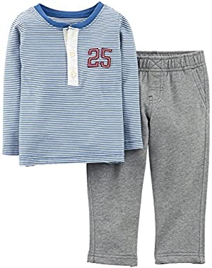 Carters Baby Boys Mommy's All-Star Henley Set 24 Month Blue/grey