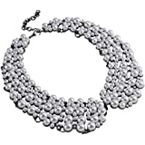 Holylove White Pearl Costume Statement Necklace for Women Fashion Necklace with Gift Box-N0007 Pearl
