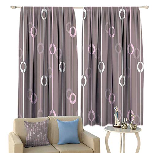 Lxldecor Geometric Curtains, Circles with Lines Vintage Color Palette Abstract Striped Illustration Window Draperies for Bedroom 2 Panels Set, 72'' W x 84'' L Warm Taupe Pink White