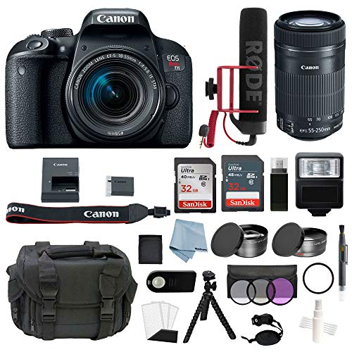 Canon EOS Rebel T7i Digital SLR Camera Video Creator Kit with EF-S 18-55mm IS STM & EF-S 55-250mm IS STM Lens + DSLR Professional Accessory Bundle – Including EVERYTHING You Need To Get Started