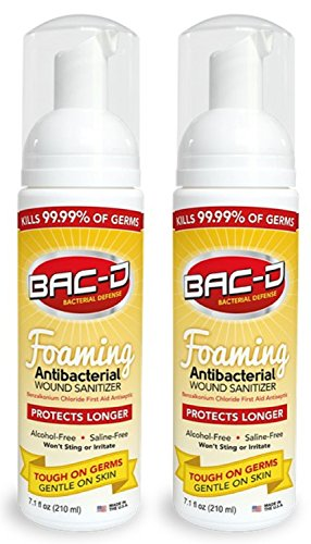BAC-D 618 Antibacterial Alcohol Free Foaming Wound Sanitizer, 7.1 oz. (Pack of 2) ()