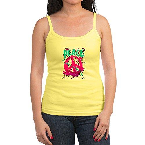 Royal Lion Jr. Spaghetti Tank Peace Symbol Sign Splatter Neon - Lemon, Medium
