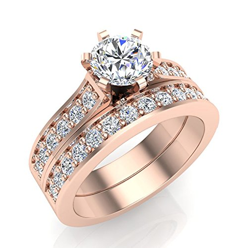 1.25 ct tw Cathedral Diamond Accented Bridal Wedding Ring Set 14K Rose Gold (Ring Size 8.5) (Cathedral Bridal Rose)