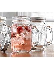 Mason Jar 16 Oz. Glass Mugs with Handle and Lid Set Of 4 Glaver's Old Fashioned Drinking Glass Bottles Original Mason Jar Pint Sized Cup Set.