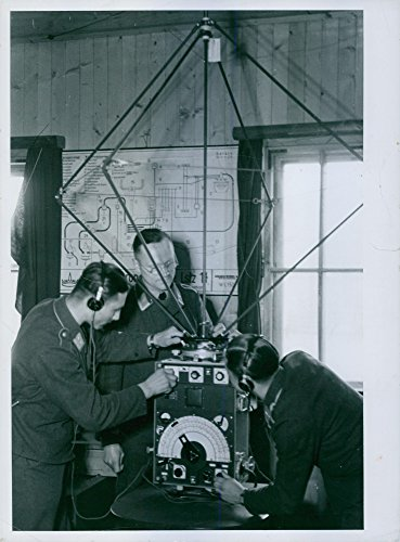 Vintage photo of Exercises on the ground radio station, the messages to the aircraft transmitted. 1940. Message Station