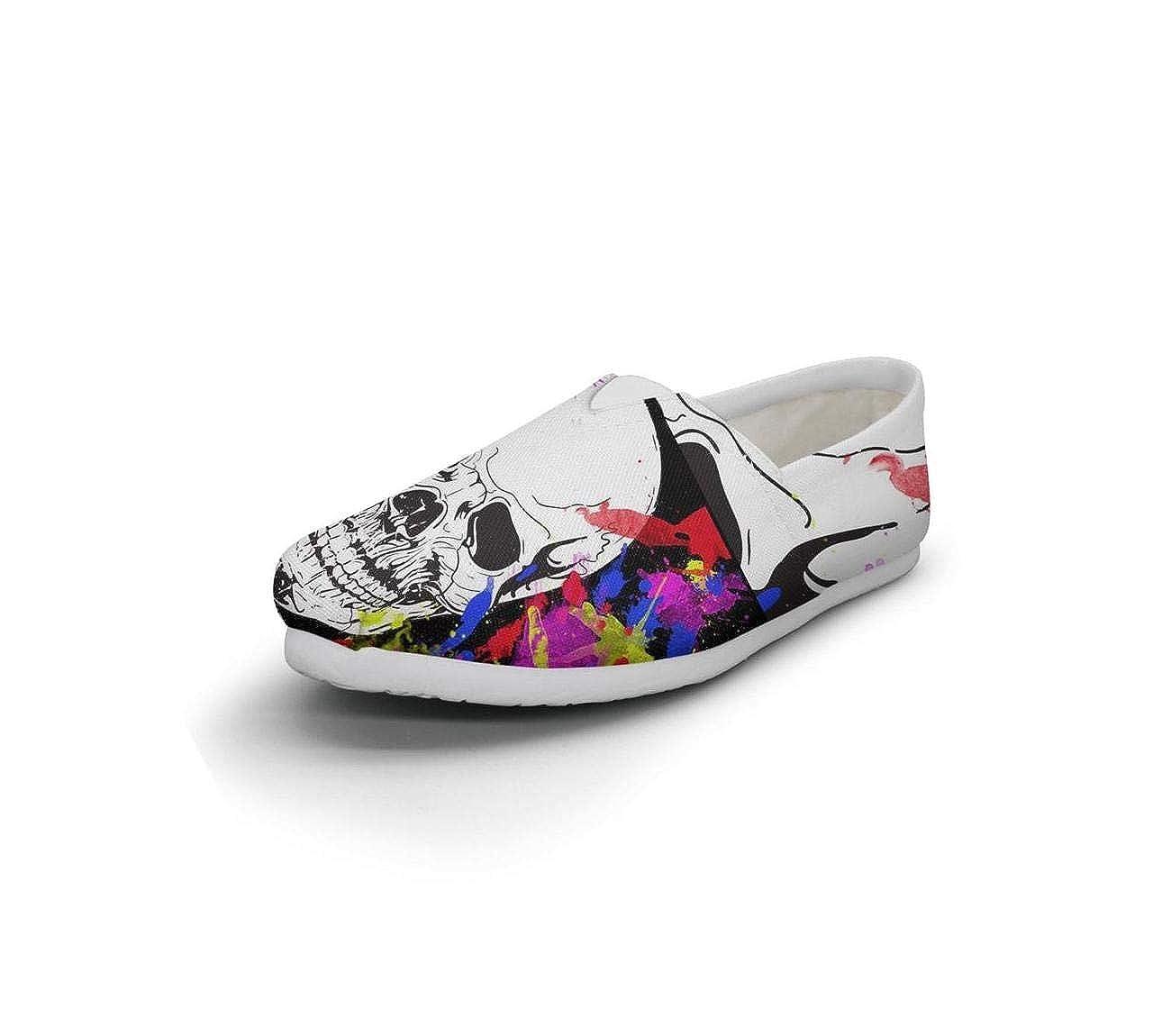 nkfbx tie-dye-Skull Casual Slip-On Sneakers for Girls Jogging
