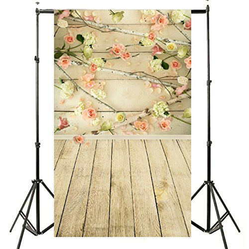 Lelinta 3x5ft Flowers Wooden Wall Wooden Floor Photography Backdrop Studio Props
