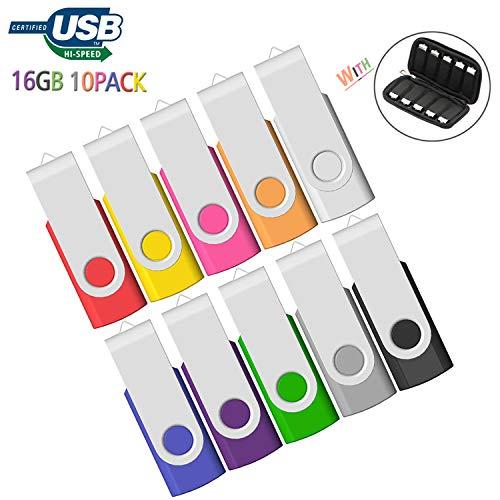 USB 16GB Flash Drive 10 Pack, Memory Stick 16 GB Bulk 10 PCS with Easy-Storage Bag JBOS Swivel Thumb Drives USB2.0 Pen Drive for Fold Digital Date Storage, Zip Drive, Jump Drive, Multi-Color
