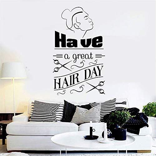 Jiesa Quotes Wall Sticker Mural Decal Art Home Decor Hair Salon Have a Great Hair Day Quotes for Barber Shop Shop Window Decor Art -