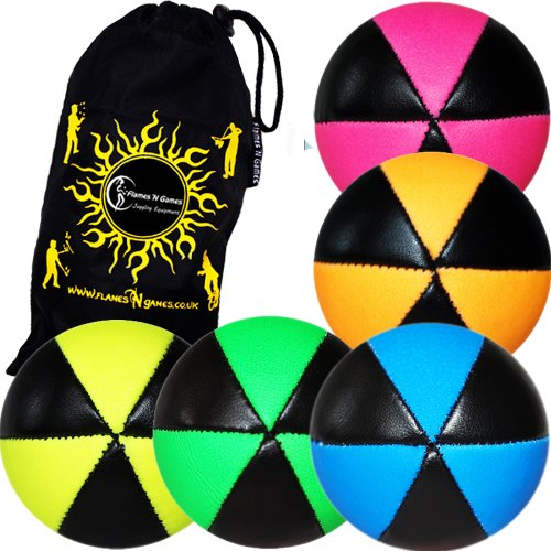 Flames N Games ASTRIX UV Thud Juggling Balls set of 5 (Mix Colours) Pro 6 Panel Leather Juggling Ball Set & Travel Bag!