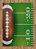 Boy's Room Area Rug by Lunarable, American Football Field and Ball Realistic Vivid Illustration College, Flat Woven Accent Rug for Living Room Bedroom Dining Room, 5.2 x 7.5 FT, Green Brown White