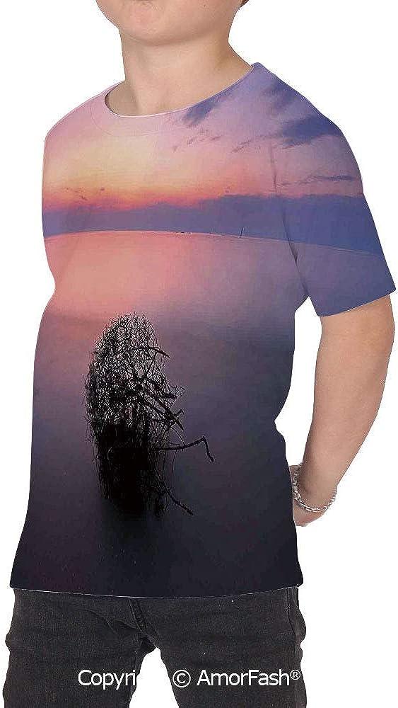 PUTIEN Scenery House Decor Girl Regular-Fit Short-Sleeve Shirt,Personality Pattern,Aeri