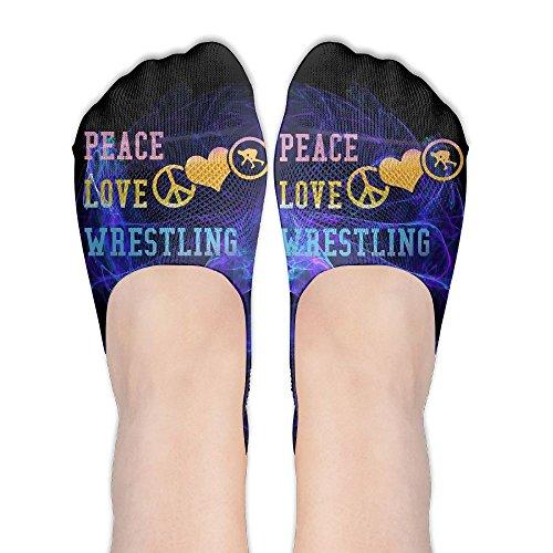 Peace & Love Plus Size Costumes (Peace Love Wrestling No Show Low Cut Liner Socks Women Elastic Summer Sock Non Slip)