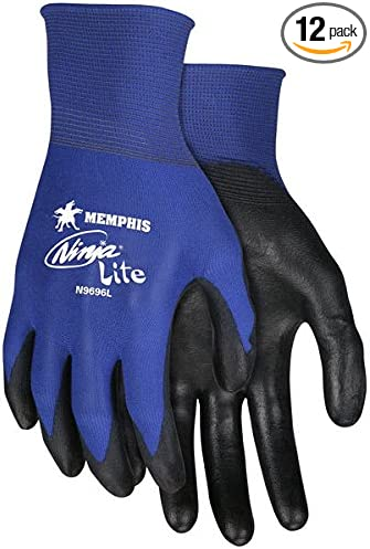 Memphis N9696 Blue Ninja Lite Gloves, 18 Gauge, Size Large, (12 Pair)