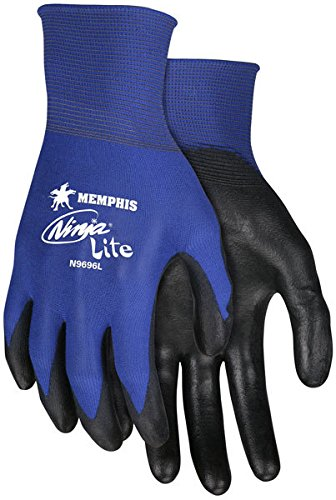 Ninja Gauges - Memphis N9696 Blue Ninja Lite Gloves, 18 Gauge, Size Medium, (12 Pair)