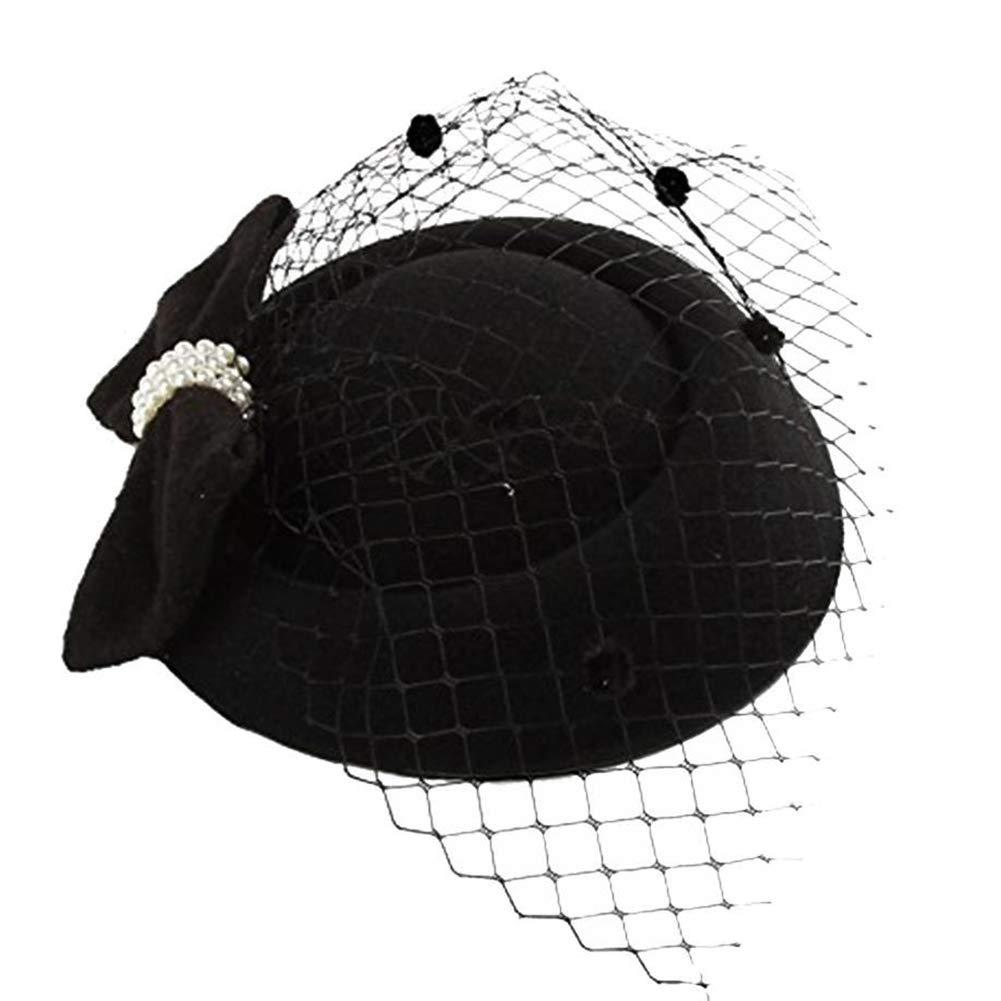 yanbirdfx Vintage Solid Color Mesh Faux Pearl Women Fascinator Hair Clip Party Derby Hat - Black