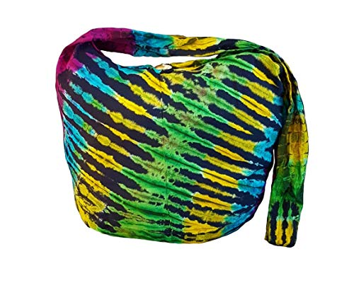 BTP! Tie Dye Sling Crossbody Shoulder Bag Purse Hippie Hobo Cotton Bohemian Colorful Firework (Midnight Rainbow VC5)