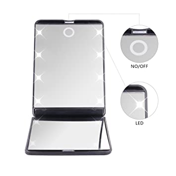 DUcare Portable Vanity Mirror Led Lighted Lights 8 Hand 180 Degree Free  Rotation Cosmetic Travel MirrorAmazon com  DUcare Portable Vanity Mirror Led Lighted Lights 8  . Portable Vanity Mirror With Lights. Home Design Ideas