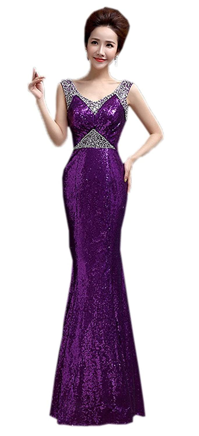Smile YKK Womens Party Sequined Gown Mermaid Tail V-Neck Cocktail Dress