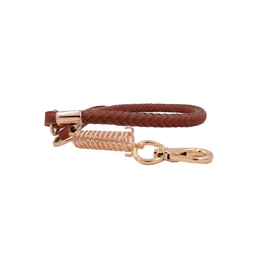 1102653.5cm Dog Belt Medium and Large Dog Supplies, Brown Red Collar + Explosion-Proof Spring Traction Rope Set (Size   110  2  65  3.5cm)