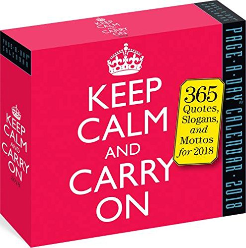 2018 Keep Calm and Carry On Daily Page-A-day Box / Desk Calendar (Daily Positive Calendar 2018)