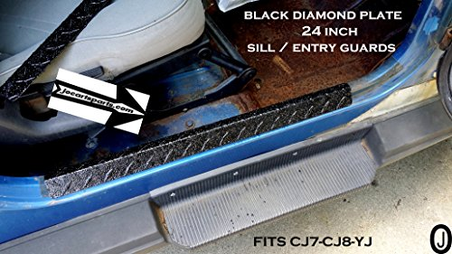 Jeep Wrangler YJ-CJ7-CJ8 BLACK Diamond Plate large sill-entry guards 1976-95 (Cj8 Cj7 Wrangler)